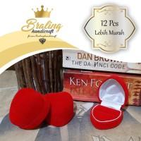 (12 Pcs) Kotak Cincin Hati Bludru Untuk 1 Cincin | Kotak Perhiasan