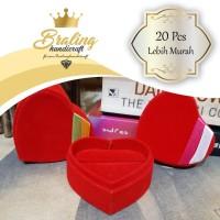 (20 Pcs) Kotak Cincin Hati Love | Kotak Tempat Perhiasan Bludru Murah