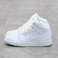 Air Jordan 1 Mid Triple White GS 100% Authentic