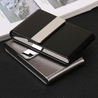 Kotak Bungkus Rokok Elegan Leather Cigarette Case PU Leather Stainless