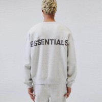 Fear Of God Essentials Grey Reflective Crewneck Sweater 100% Original