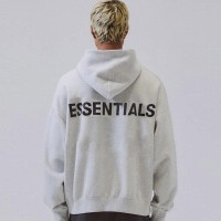 Fear Of God Essentials Jaket Hoodie Reflective Grey Black 100%Original