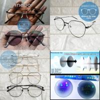 kacamata frame korea full besi + lensa photocromic rubah warna