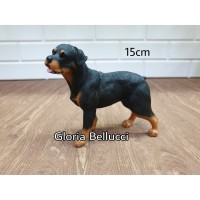 patung pajangan miniatur anjing rottweiler berdiri