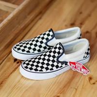 Sepatu Vans Slip On Checkerboard Hitam Putih Premium Kanvas Waffle DT