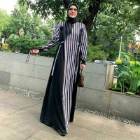 Dress gamis mandjha ivan gunawan stripe monogram dress