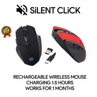 Mouse Gaming Wireless Rechargeable Silent Click USB Power Saving ORI - Hitam