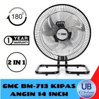 KIPAS ANGIN MEJA GMC BM-713 SWING 14 INCH BESI HITAM