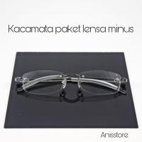 frame kacamata pria bor rimless frameless paket Lensa minus