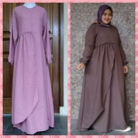 Gamis Jumbo Big Size Layer Wolly Dusty Pink GS 41
