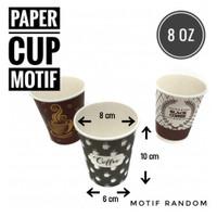 [ PAPERCUP - 8 OZ ] PAPER CUP TEBAL MOTIF ISI 50 PC
