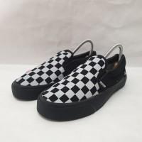 Sepatu Vans Checker Board Slip On Full Black Premium Quality