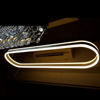 Lampu gantung hias opal OVAL DOUBLE LED RING pendant light size 120 cm