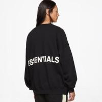 Fear Of God Essentials Graphic Crewneck Sweater - Black 100% Original