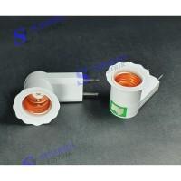 Fitting Colok + Steker Jumbo Warna Putih -Dudukan Lampu E27 - Jiamei