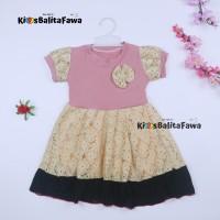 Dress Yuki uk 1-2 Tahun / Dres Lengan Anak Perempuan Baju Gaun Pesta