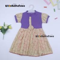 Dress Yuki uk 3-4 Tahun / Dres Lengan Anak Perempuan Baju Gaun Pesta