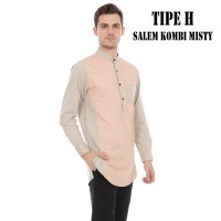 Baju Koko Pria Kurta Pakistan / Gamis Two Tone Salem Kombi Misty - M