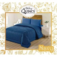 bedcover vallery polos embbos motif navy uk 180 x 200 tinggi 30