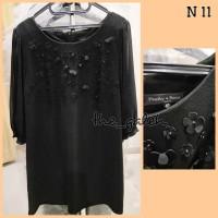 N11 Baju Dress Hitam Bunga Bunga Timbul Bagus Murah