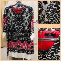 N10 Baju Dress Hitam Motif Merah Putih merk Personal Style Bagus Murah