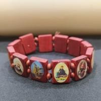 Gelang Kayu merah Gambar Rohani / Gelang kayu