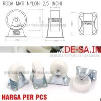 "Caster / Roda Mati Bahan Nylon 2.5"" - Etalase Troli"