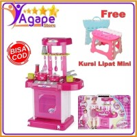 Kitchen Set Koper Mainan Masak-Masakan Free Kursi Lipat Mini