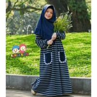 Gamis Kaos Anak Stripe Navy Raggakids RG28 tanpa jilbab (7-8 tahun)