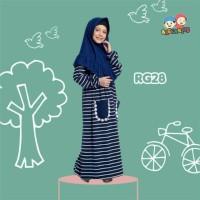 Gamis Kaos Anak Stripe Navy Raggakids RG28 tanpa jilbab (2-3 tahun)