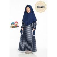 Gamis Kaos Anak Stripe Navy Raggakids RG28 tanpa jilbab (10-12 tahun)
