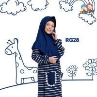 Gamis Kaos Anak Stripe Navy Raggakids RG28 tanpa jilbab (8-9 tahun)