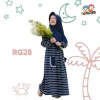Gamis Kaos Anak Stripe Navy Raggakids RG28 tanpa jilbab (4-5 tahun)