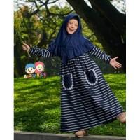 Gamis Kaos Anak Stripe Navy Raggakids RG28 tanpa jilbab (6-7 tahun)