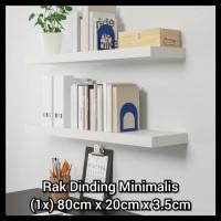 Erenor 80x20cm Rak Dinding Minimalis / Floating Shelves / Rak Buku - Hitam