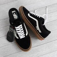 vans old skool pro black white gum original murah
