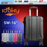 Idoky 16Inch ABS Trolley Suitcase Spinner Wheel Rolling Koper Luggage - Hitam