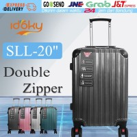 Idoky SLL 20 Inch Koper Anti Air dengan Kunci Kombinasi Double Zipper - Hitam