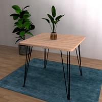 Meja makan minimalis meja cafe modern meja kerja kaki besi Zemora 4