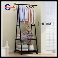 Triangle Stand Hanger Baju Rak Buku Pakain Rak Serbaguna Dengan 4 Roda