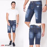 Celana Pendek Jeans 3/4 Pria JSK - Biru Tua 9720, 28