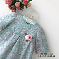 1-2-3 Dress Baju Anak Perempuan wanita Kualitas Export DO. 232 - Toska, 1