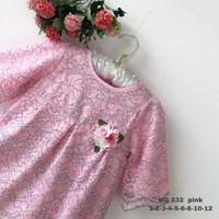 8-10-12 Dress Baju Anak Perempuan wanita Kualitas Export DO 232-3 - Merah Muda, 10