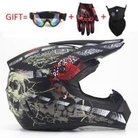 Moto Cross Off Road Dirt bike Downhill Helmet Skull Design Helm 57-5