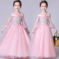 Gaun Anak perempuan dress Premium Sabrina Barbie warna Peach baju an