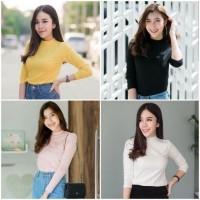 Rx Fashion Baju Kaos Wanita Mangset Sabyan Polos / Long Sleeve Bahan