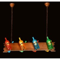 Lampu gantung hias cafe mini bar WINE BOTTLE RACK 8 ARMS pendant light