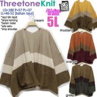 Three Tone Knit CARDIGAN RAJUT WANITA MELAR BASIC CASUAL JUMBO FIT 5L