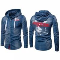 Kemeja hoodie pria jeans keren baru murah