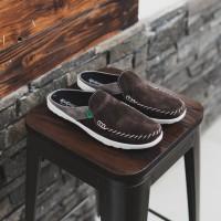 Sepatu Pria kickers Stiching Coklat Sepatu Slip On Bustong Santai
